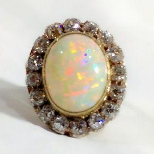 Unreal Vintage Opal & Diamond 18K Cocktail Ring
